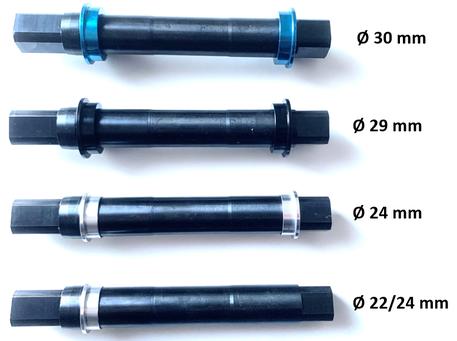 4 main versions of existing axle diameter