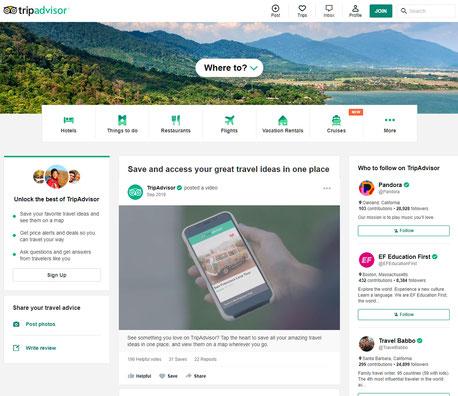 世界最大の旅行サイト、TripAdvisor