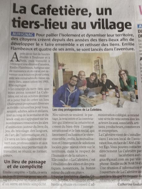 article sur La Cafetière dans la Gazette du Comminges en mars 2020