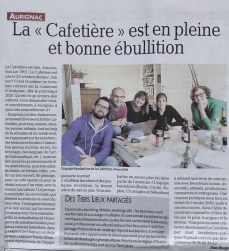 Article sur La Cafetière dans La Dépêche en décembre 2019