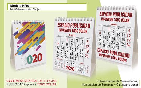 Calendario sobremesa publicitario doble de 13 hojas
