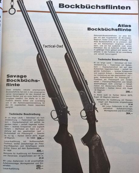 Die Savage und Atlas Bockbüchsflinten im Kettner Katalog von 1969.