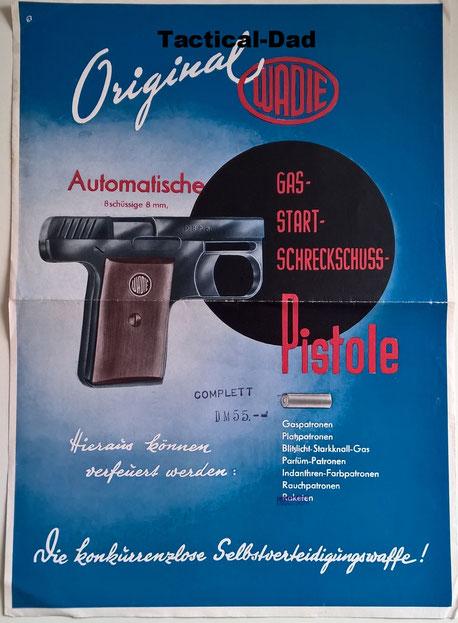 Werbeposter für die Wadie Pistole mit einem Preis von damals 55 Mark.