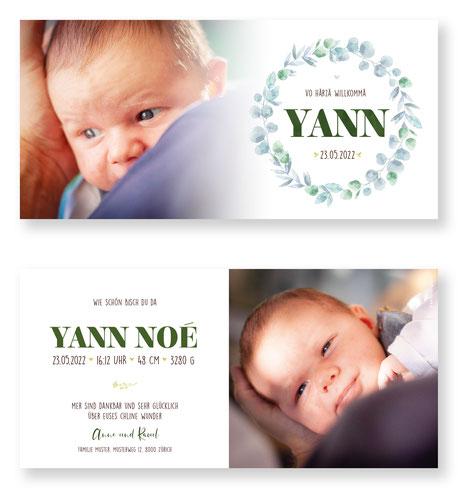 Geburtsanzeige oder Geburtskarte für ihr Baby. Babykarte zur Geburt. Schweiz. kartendings.ch