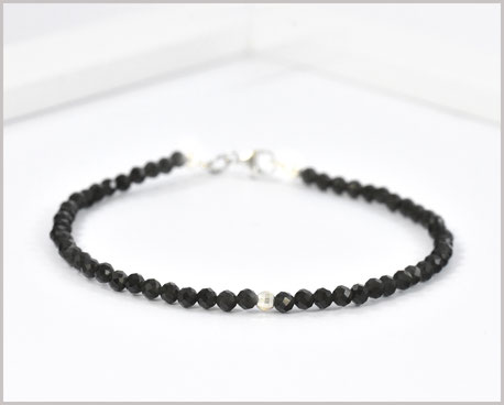 Obsidian Edelsteinarmband 3 mm  925 Silber  35,90 €