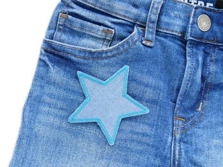 Bild: Stern Bügelbild als Jeansflicken zum aufbügeln, repariert schnell und nachhaltig Hosenlöcher