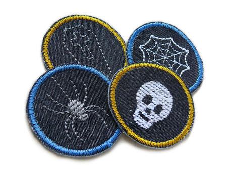 Bild: Halloween Bügelbilder, Grusel Mini Flicken zum aufbügeln mit Sarg, Spinne und Totenschädel