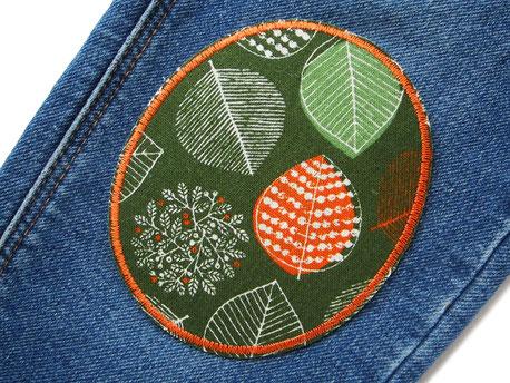 Bild: Set Knieflicken Bügelflicken Blätter Aufnäher Hosenflicken Wald grün orange