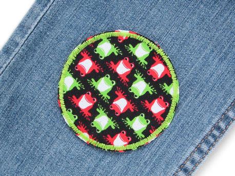 Bild: Flicken zum aufbügeln für Kinder mit roten und grünen Fröschen, Frosch Aufnäher