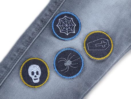 Bild: Halloween Flicken zum aufbügeln, Mini Jeansflicken für Kinder als Bügelflicken zum Reparieren von Hosenlöchern