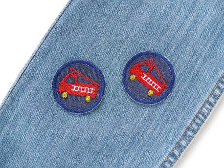 Bild: Mini Flicken zum aufbügeln mit Feuerwehr, kleine Jeansflicken für Jungen