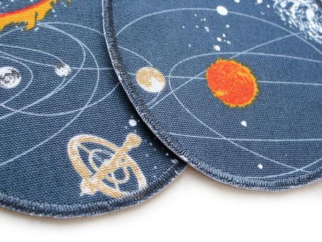 Bild: robuste Stoffflicken für Kinder, Bügelflicken mit Planeten, Sonnen, Sternen, Weltall