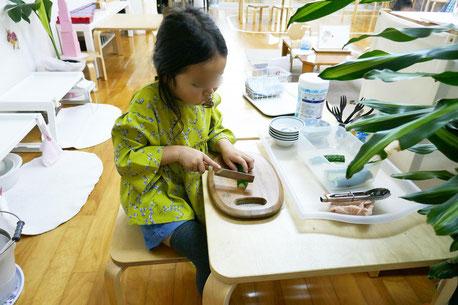モンテッソーリ活動の日常生活の練習で、幼稚園児がまな板の上で包丁を使ってきゅうりを慎重に切っています。