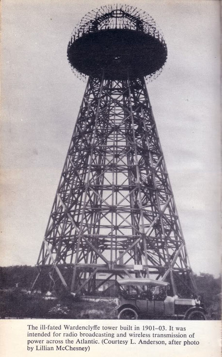 "Tesla's ""wonder tower,"" the first transmission tower in the world, was located less than two miles from the RCA high power radio tower at Rocky Point."