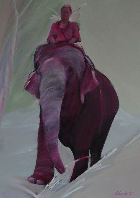 Pink Elephant Angel  -  Acryl  en houtskool op doek  76 X 100 cm