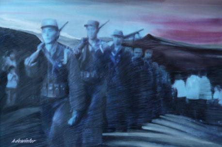 Partisans 105 X 76 cm - acrylic - houtskool op doek
