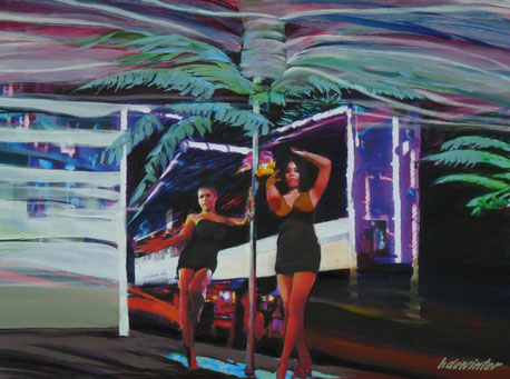 PHUKET GOGO GIRLS  - Acryl  en houtskool op doek  80 X 105 cm