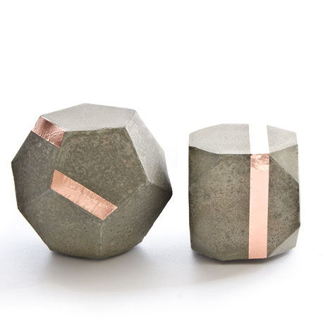Geometric Concrete Copper Modular Sculpture by PASiNGA