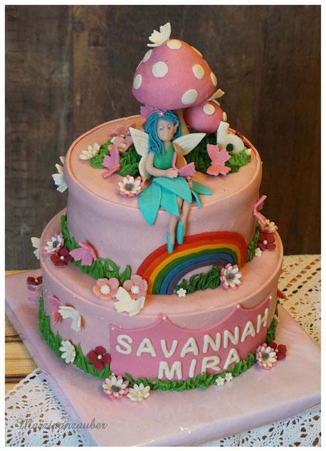 Geburtstagstorte Mädchen, Fee Marzipandekor, Stapeltorte,  Torte Kindergeburtstag, Marzipanzauber