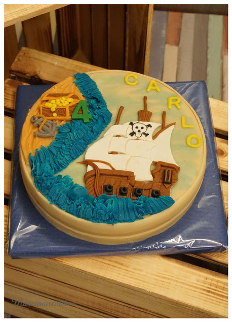 Torte Kinderbeburtstag Piratenschiff, Geburtstagstorte Junge Pirat, Marzipan, Marzipanzauber