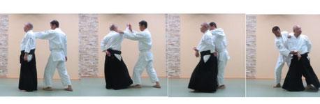 右を軸として左足を半歩前に進めて軸足に交代し、入り身転換で右半身・その場で反復して左半身・体の変更で右半身の陰の魄氣