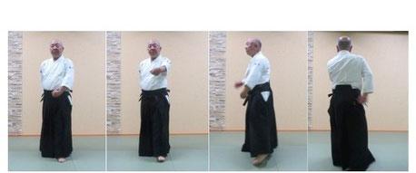 画像③ 4コマ目は体の変更へ進めている。左半身から左半身へ。