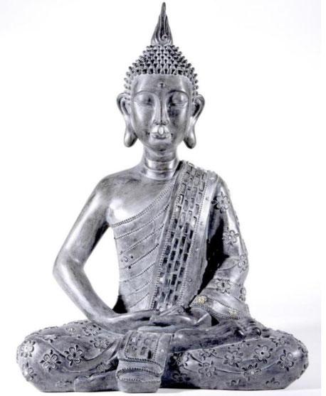 Buddha sitzend, grau, 64cm