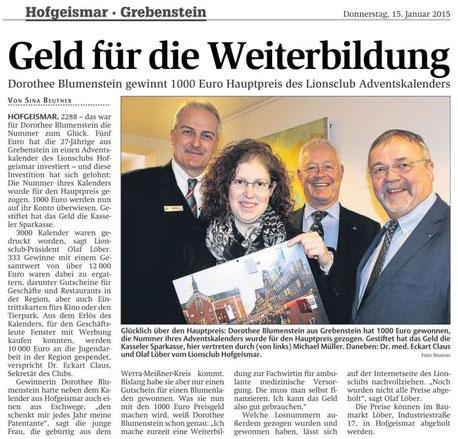 HNA, 15.1.2015: Preisübergabe der Adventslotterie des LionsClubs Hofgeismar