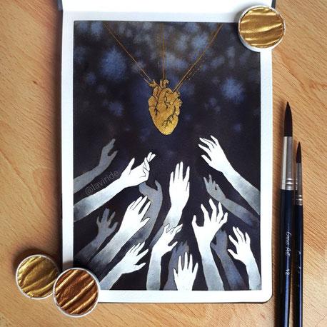 Inktoberbeitrag eines goldenen Herzes, nachdem sich blasse Hände ausstrecken.