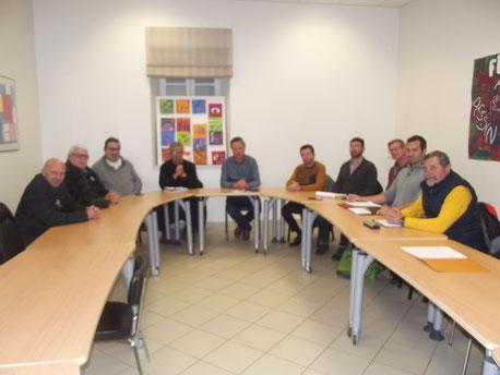 De gauche à droite: Stéphanne Menneboo,Bernard Antherieu,Etienne Amalric,Jean Pierre Bouisset, Paul Griffe,David Fernandez, Adrien Arazo, Damien Fournier,Thibaut Izard,Michel Pitarch