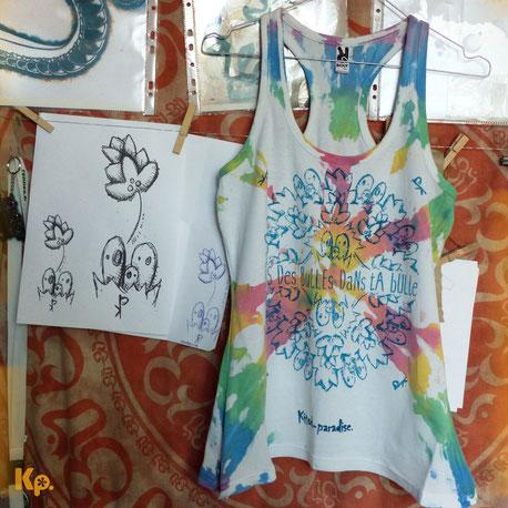 pochoir, Kitsch-paradise, kitsch, paradise, peinture, tee-shirt, fashion, week, artisan, créateur, macramé, bijoux, bretagne, peint à la main, couleur