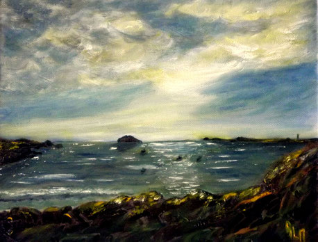 Ouessant, la Baie de Lampaul RLM 2015 n°95 HT 30x24. Peinture par Régine Le Maout Rlm. VENDUE.