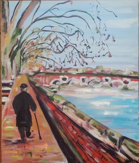 La route est longue - Huile et Pastel par Claire Allard Artiste peintre