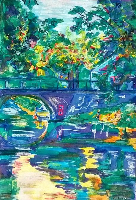 Le pêcheur du Canal - Pastel et encre par Claire Allard, Artiste peintre