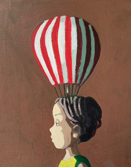 balloonist - Acryl auf Leinwand, 30x24cm, 2021   verkauft