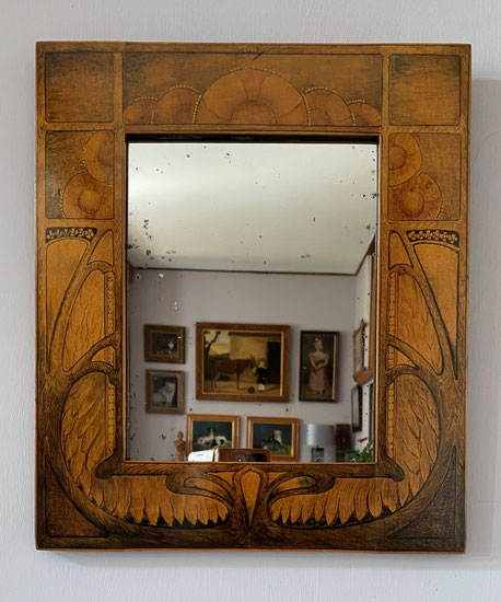 Arts and Crafts period hand painted wall mirror