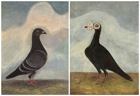 19th century folk art - a pair of carrier pigeons