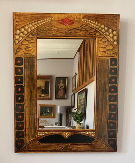 Large Arts and Crafts movement hand painted wall mirror