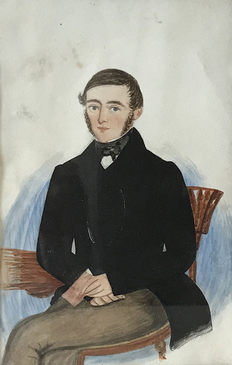 Naive watercolour of a seated young man