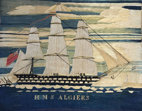 Sailors woolwork or woolie of a three masted frigate