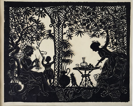folk art Cut paper tea in the orangery with cat
