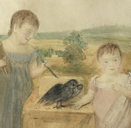 Naive 19th century watercolour of children
