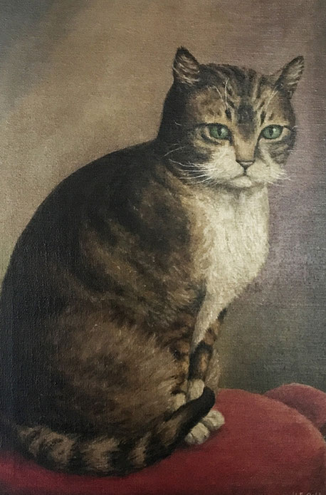 Charming oil portrait of a cat