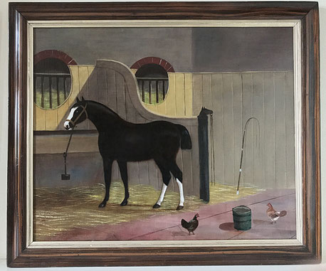 Naive horse in a stable 19th century oil 1 on canvas