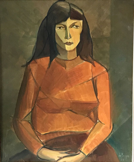 Large mid 20th century oil of lady in an orange jumper, cubist style
