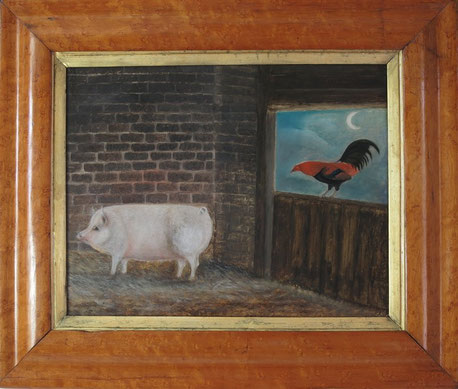 English 19th century naive folk art school, a pig and a cockerel in a barn