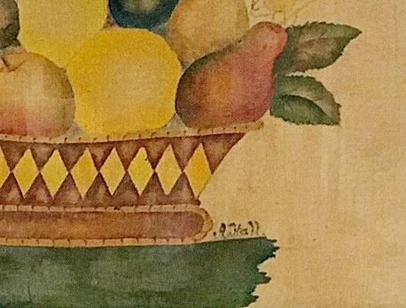 Theorem stencil watercolour painting of a basket of fruit on velvet
