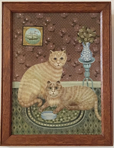 ive Text:  20h century folk art  naive school.  Portrait of a pair of cats