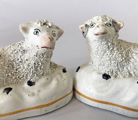 Pair of staffordshire sheep c 1860