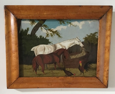 18th century naive oil on panel horses and chickens